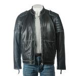 Men's Black Distressed Collarless Biker Style Leather Jacket