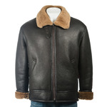 Men's Brown and Ginger B3 Style Vertical Zip Sheepskin Aviator Pilot Flight Jacket