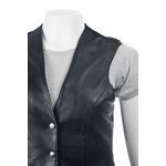 Ladies Black Half Leather Waistcoat