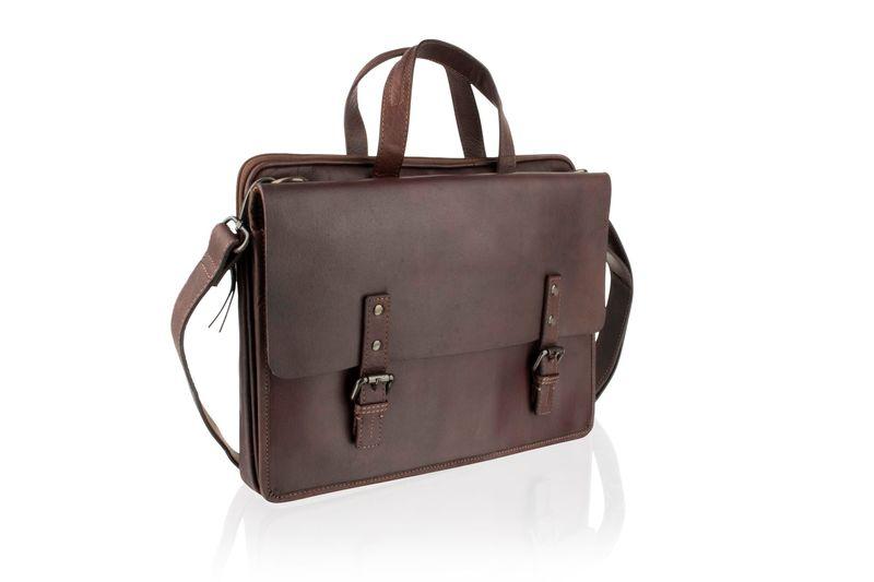 "Woodland Leather 14.5"" Burgundy Laptop Satchel Briefcase"