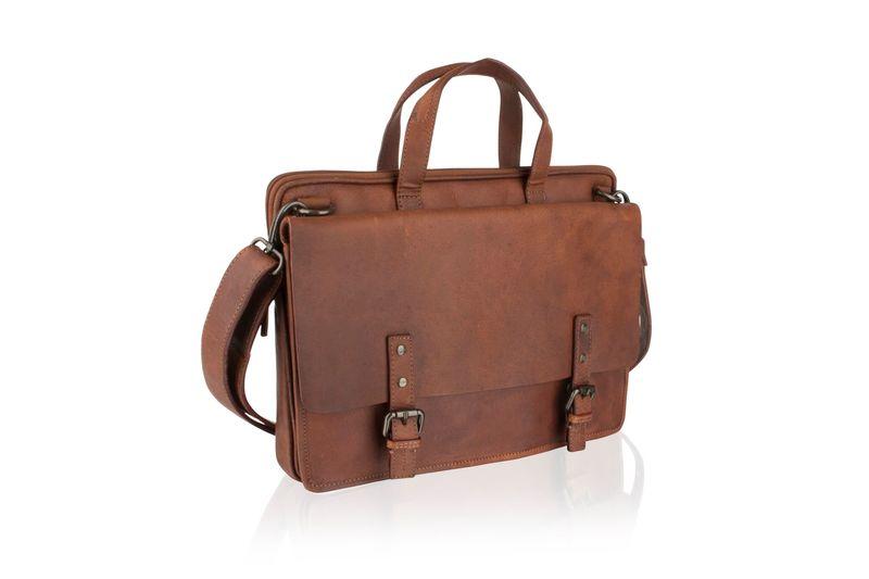"Woodland Leather 14.5"" Tan Laptop Satchel Briefcase"