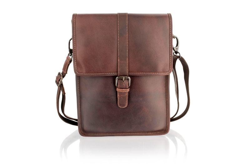 Woodland Leather Burgundy Portrait Messenger Bag