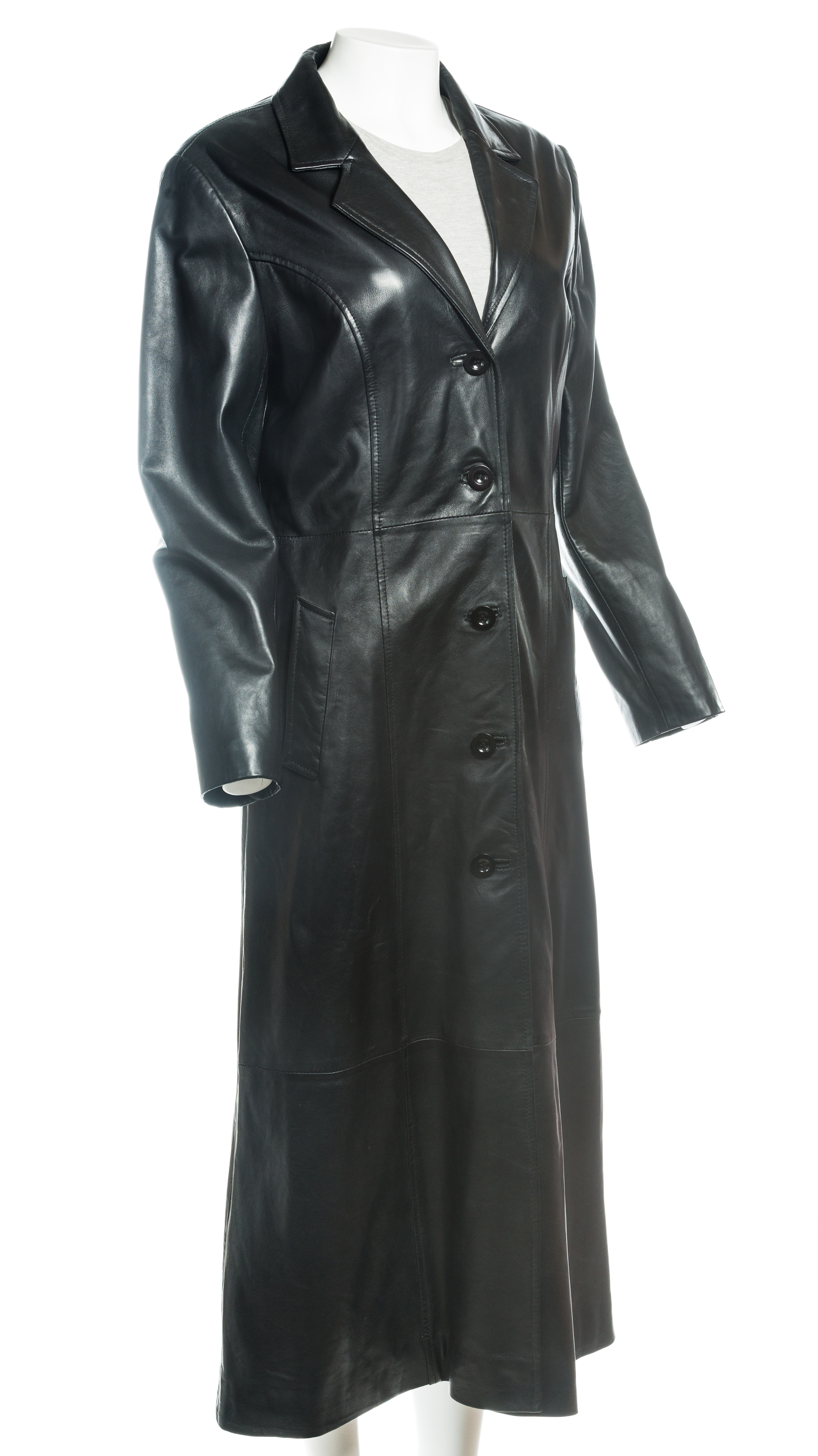 great look luxuriant in design great discount for Ladies Black Full Length Buttoned Leather Coat | Leather Shop