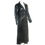 Ladies Black Full Length Buttoned Leather Coat