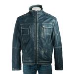 Men's Blue Vintage Biker Style Leather Jacket