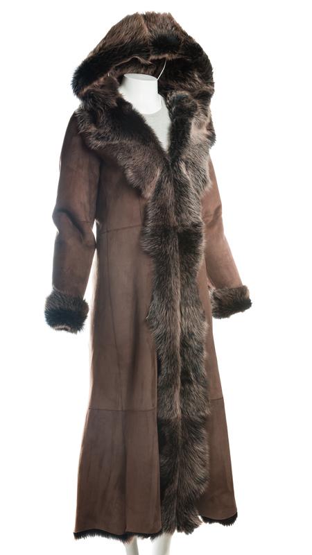 Ladies Full Length Brown Toscana Shearling Sheepskin Coat