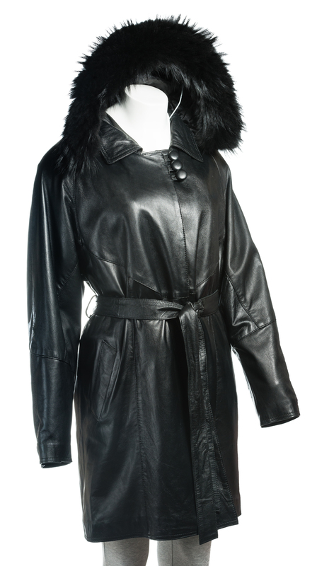 Ladies Black Belted 3/4 Length Coat with Detachable Lining and Fur Trimmed Hood