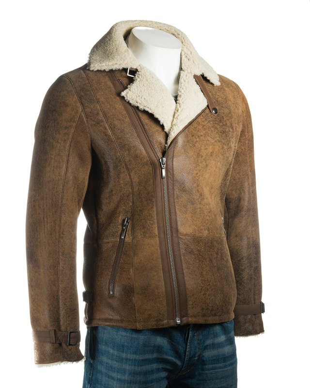 b9ea0642c Men's Cognac Weathered Shearling Sheepskin Biker Style Jacket ...