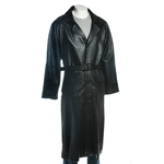 Men's Black Full Length Belted Leather Coat