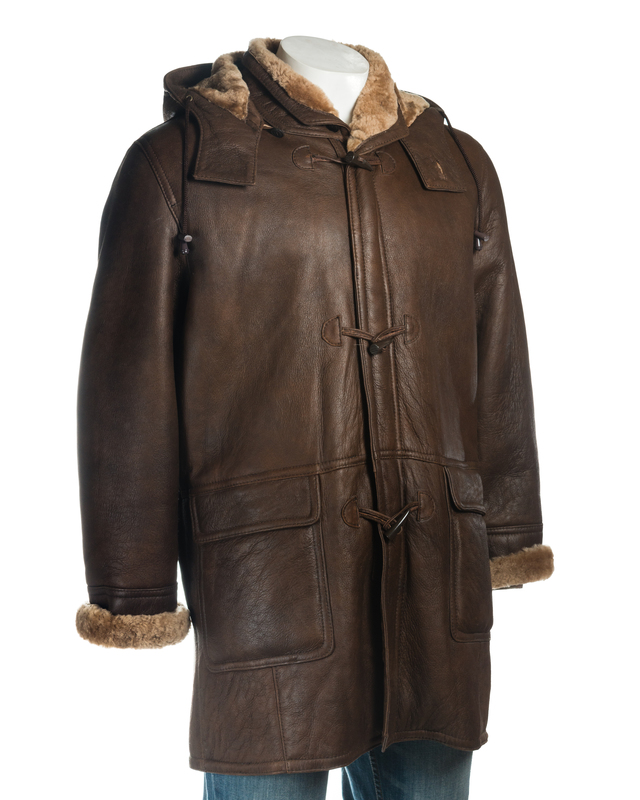 Men's Brown Duffle Style Shearling Sheepskin Coat