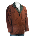 Men's Tan Nubuck Leather Coat with Zipped Pockets