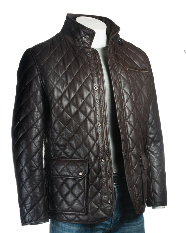 Men's Brown Quilted Leather Coat with Diamond Stitch