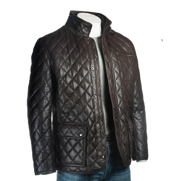 ca1446f2a7a Men s Brown Quilted Leather Coat with Diamond Stitch  Javier