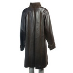 Women's Brown Leather Swing Coat with Suede Panels