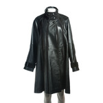 Women's Black Leather Swing Coat with Suede Panels