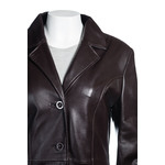 Ladies Full Length Classic Brown Leather Coat