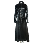 Ladies Black Full Length High Neck Buckled Coat