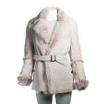Ladies Belted Wrap-around Grey Toscana Sheepskin Coat