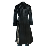 Men's Black Matrix Style Full Length Flared Leather Coat