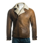 Men's Cognac Weathered Shearling Sheepskin Biker Style Jacket