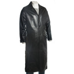 Men's Classic Black Full Length Leather Button-up Coat