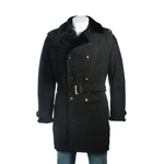 Men's Black Shearling Sheepskin 3/4 Double Breasted Button Up Suede Finish Coat