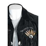 Black Suede Native American Western Style Jacket with Fringe and Beads