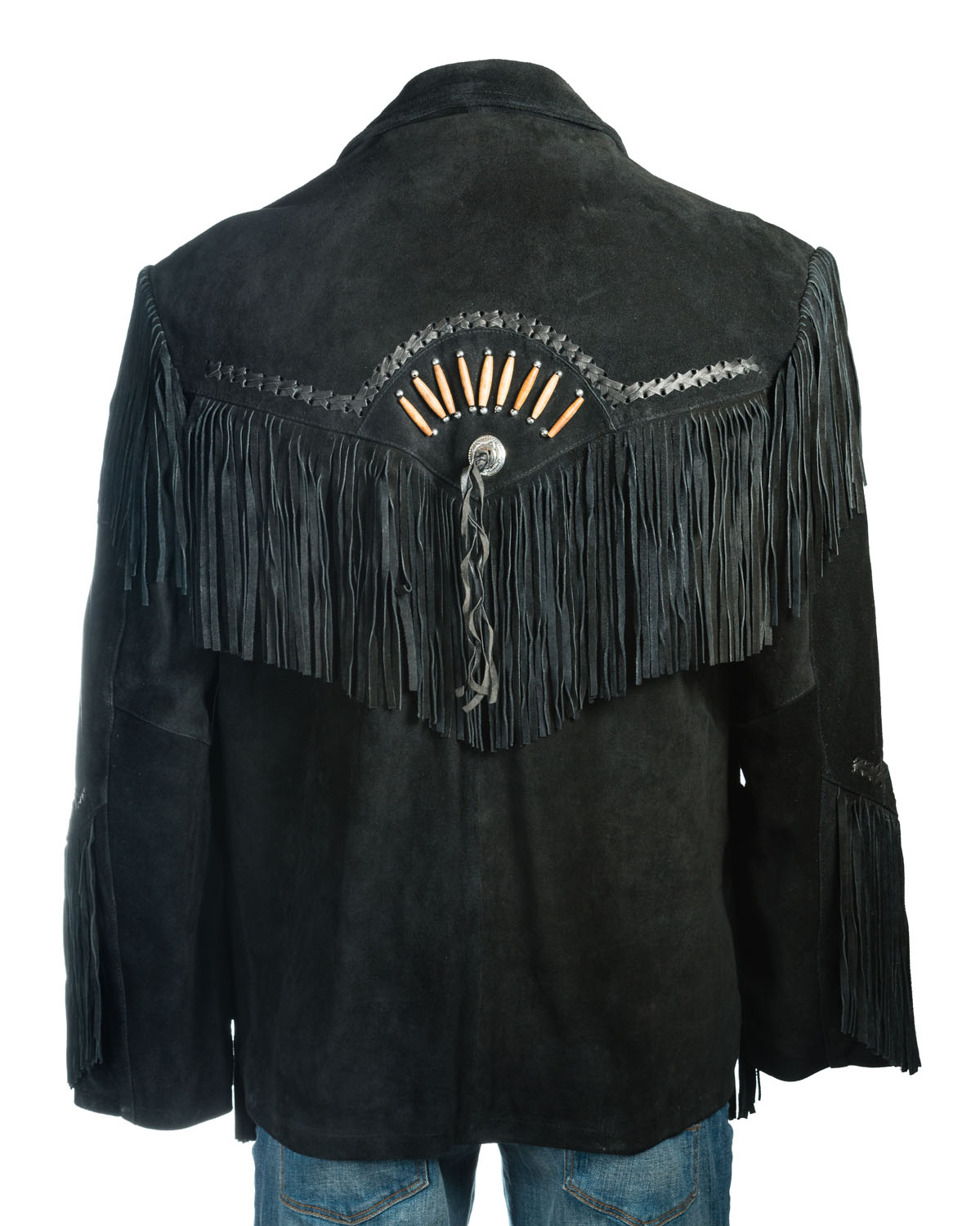 ff774cf44 Black Suede Native American Western Style Jacket with Fringe and ...