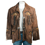 Brown Suede Native American Style Jacket with Fringe and Beads