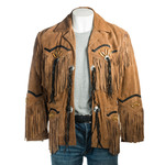 Tan Suede Native American Style Jacket with Fringe and Beads