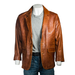Men's Tan Classic Two Button Single Breasted Leather Blazer