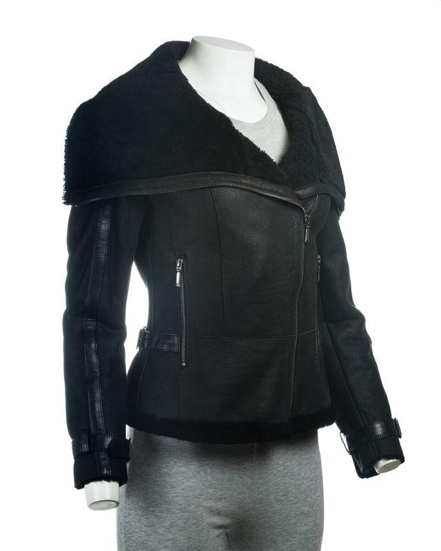 Ladies Black Sheepskin Jacket With Oversized Collar