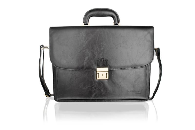 """Woodland 15.0"""" Leather Black Satchel Briefcase Landscape, Flap Over With Central Zip Adjustable Shoulder Strap"""