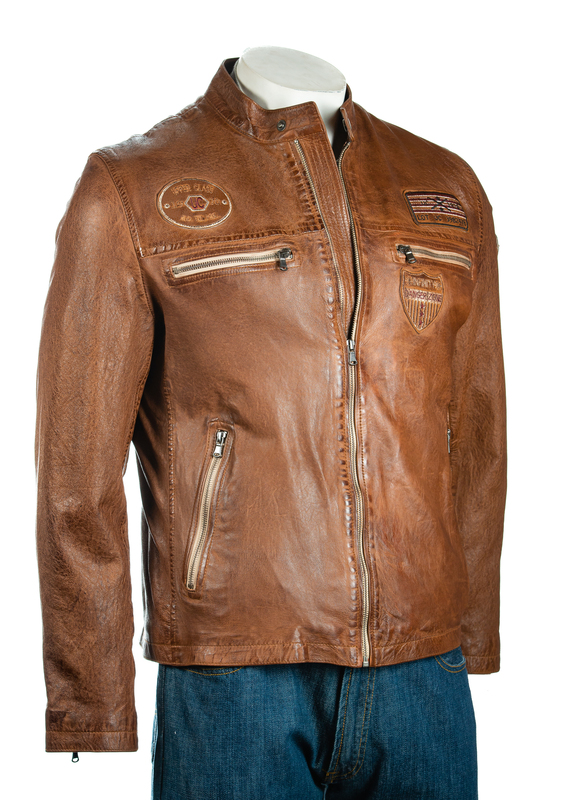 Men's Tan Retro Racing Biker Style Leather Jacket