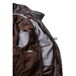 Men's Mottled Antique Brown 3/4 Traditional Duffle Style Leather Coat Jacket with Detachable Hood and Fleece Lining