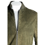 Men's Olive Rib-Knit Collar Suede Bomber