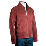 Men's Burgundy Rib-Knit Collar Suede Bomber