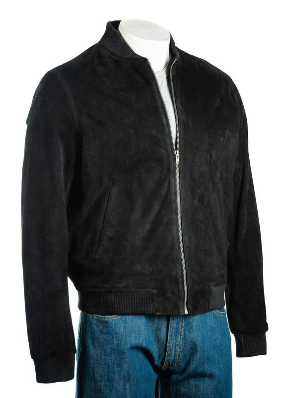 Men's Black Rib-Knit Collar Suede Bomber