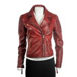 Ladies Red Cross Zip Biker Style Leather Jacket