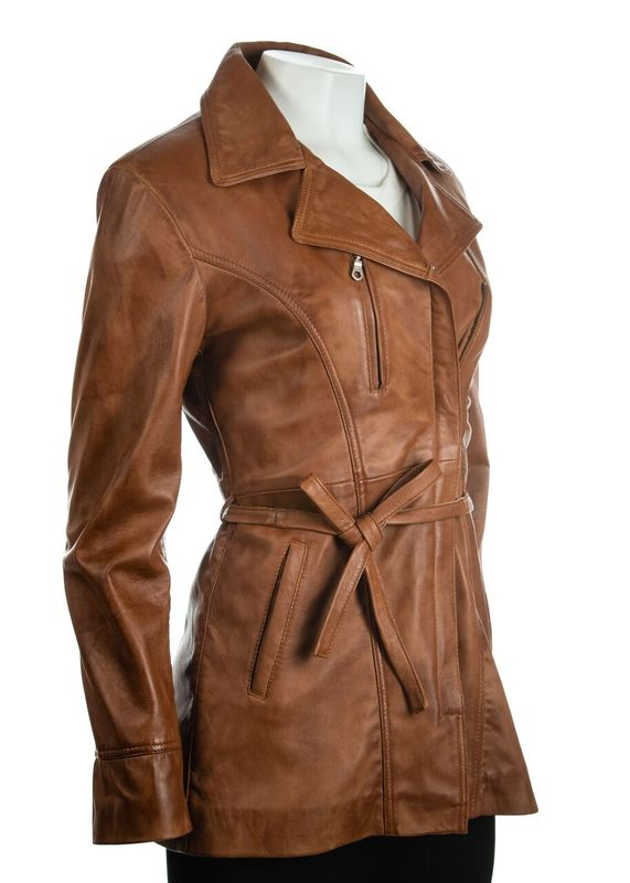 Ladies Cognac Tan 3/4 Mid Length Zip Up Belted Leather Coat