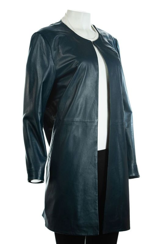 Ladies Navy 3/4 Mid Length Collarless Leather Coat