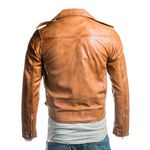 Men's Tan Brando Classic Biker Style Leather Jacket