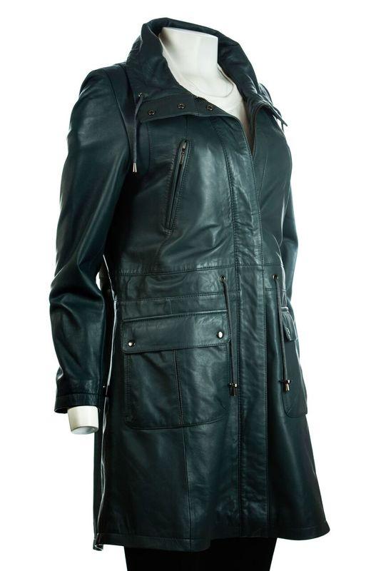 Ladies Navy Parka Soft Nappa 3/4 Leather Coat