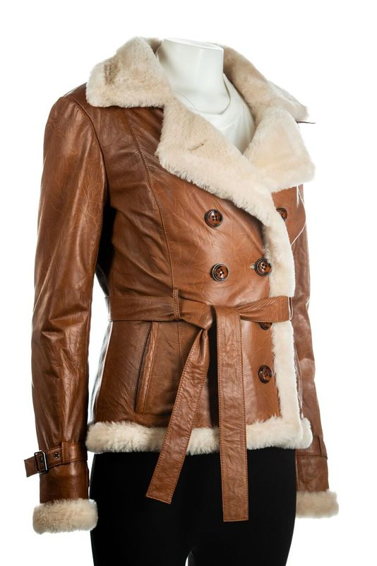 Ladies Cognac Buttoned Sheepskin Jacket