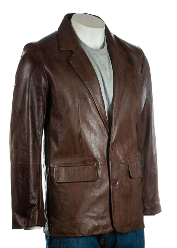 Men's Brown Classic Two Button Single Breasted Leather Blazer
