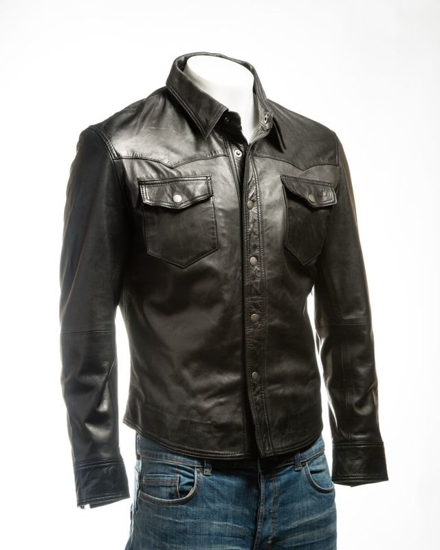 Men's Black Shirt Style Leather Jacket