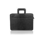 "Woodland Leather 16.0"" Black Retractable Handle Satchel Briefcase Folio With Single Central Compartment"