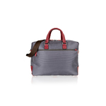 Woodland Leather Grey With Wine Trim Tote Bag