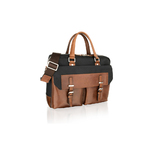 Woodland Leather Black With Tan Trim Tote Bag