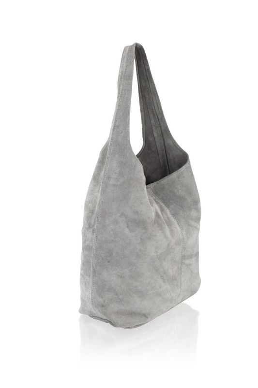 Woodland Leather Dark Grey Suede Shopping Bag With Matching Suede Purse